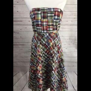 J.Crew Dress Size 4 Strapless Patchwork Madras